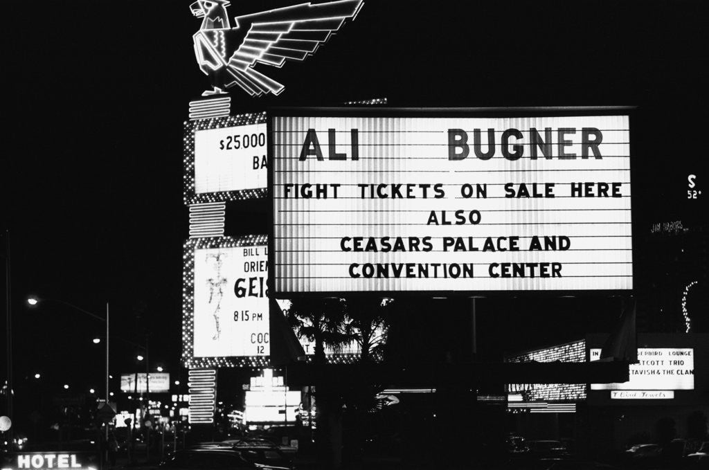 Detail of Neon sign on the strip in Las Vegas advertising the Muhammad Ali - Joe Bugner fight by Monte Fresco