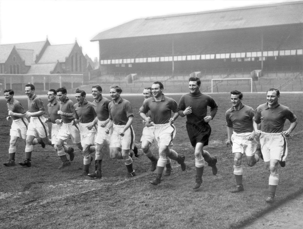 Detail of Everton players training at Goodison Park by Ted Abell