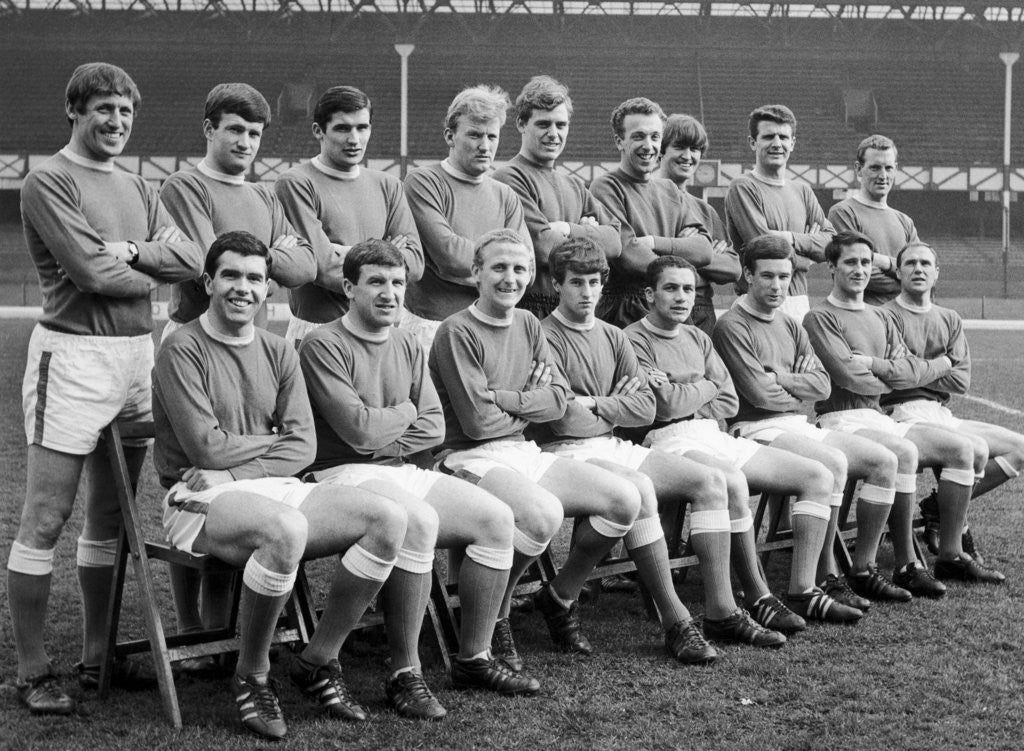 Detail of Everton squad pose for a group photograph by Anonymous