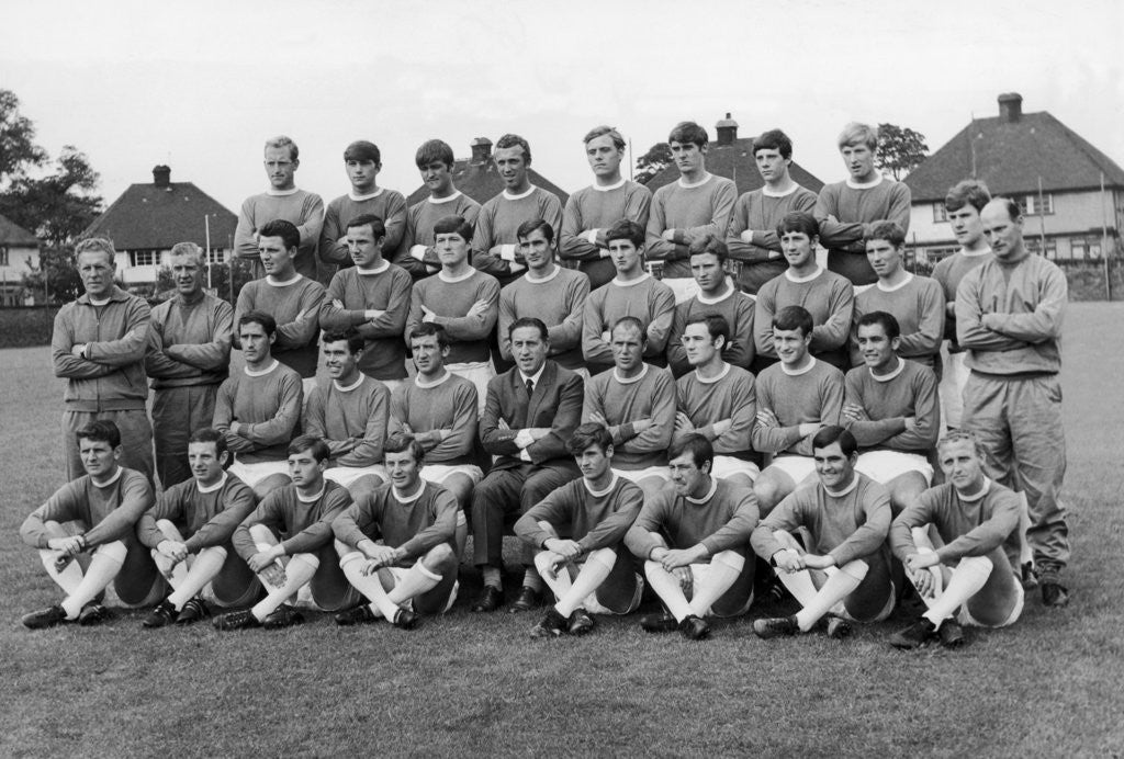 Detail of Everton squad pose fore a pre season picture by Peter Ralph
