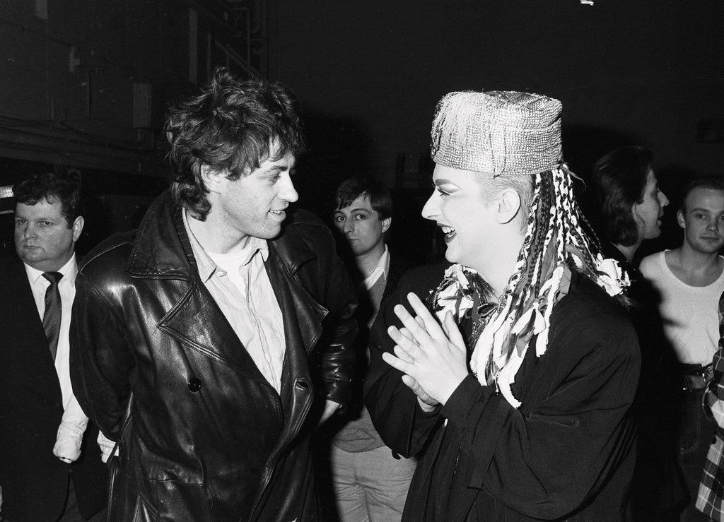 Detail of Boy George with Bob Geldof by Will Dyson