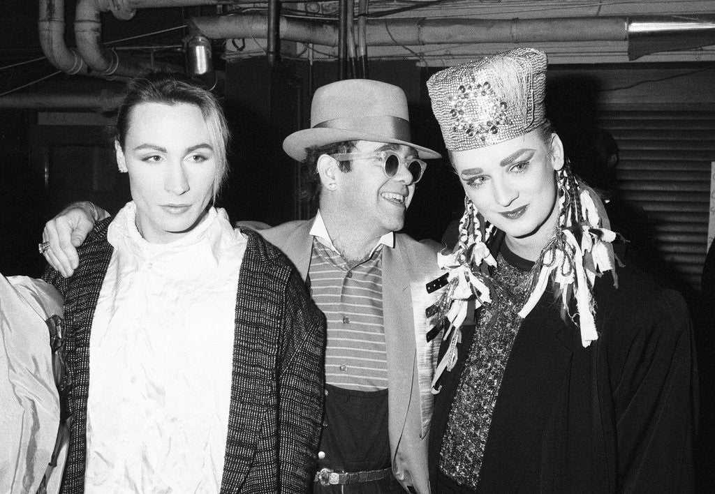 Detail of Boy George with with friend Marilyn and Elton John by Will Dyson