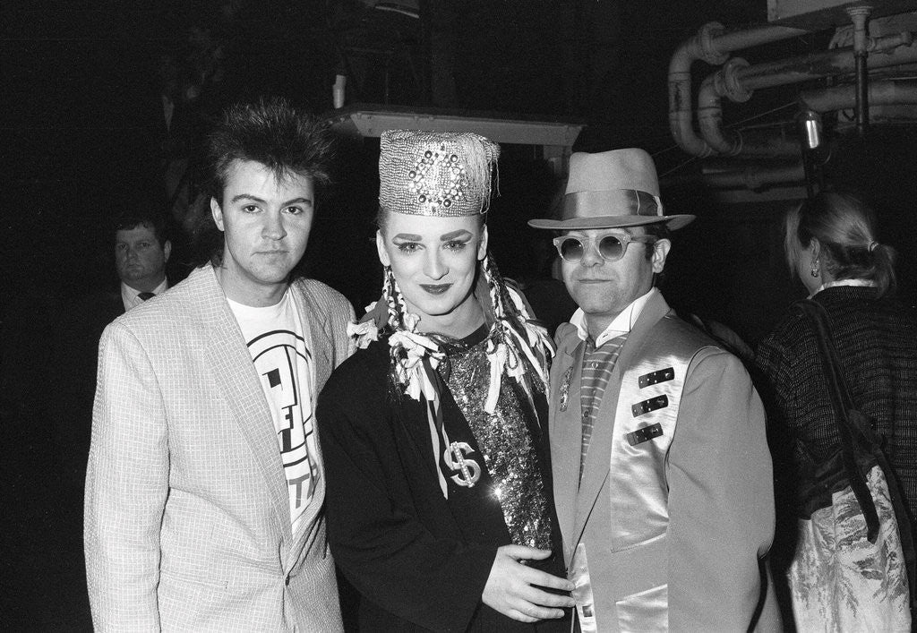 Detail of Boy George with Paul Young and Elton John by Will Dyson