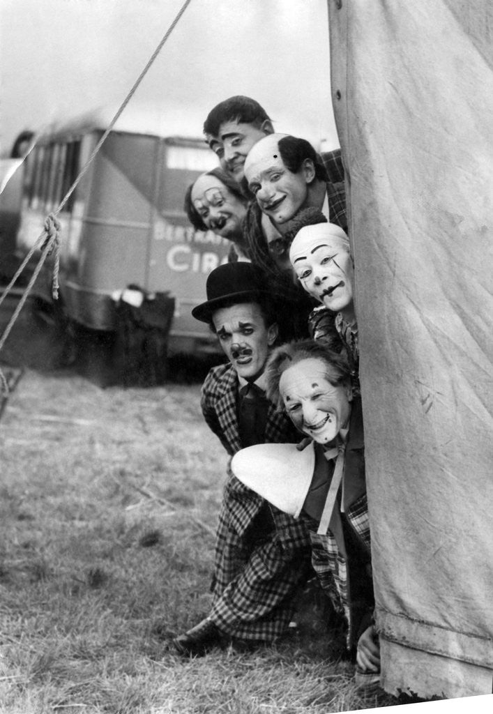 Detail of Clowns at the Bertram Mills circus by Staff