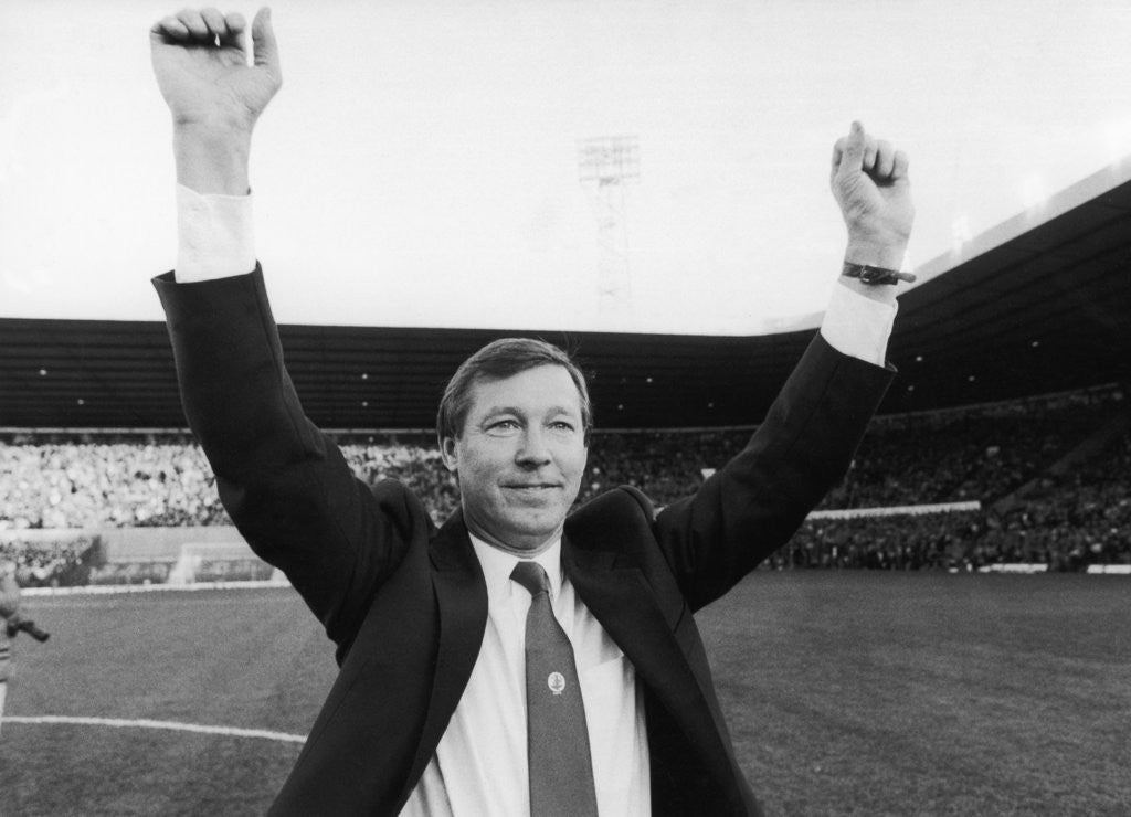 Detail of Alex Ferguson waves to the Old Trafford crowd by Anonymous