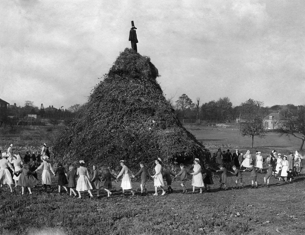 Detail of A huge pyre erected in the ground of the Aldersbrook Childrens Home, Wanstead, London by Staff