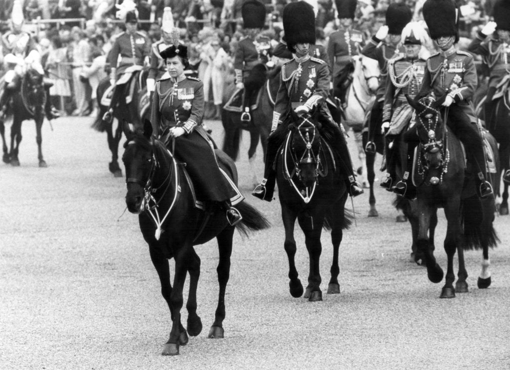 Detail of Trooping of the Colour ceremony 1980 by Sunday Mirror