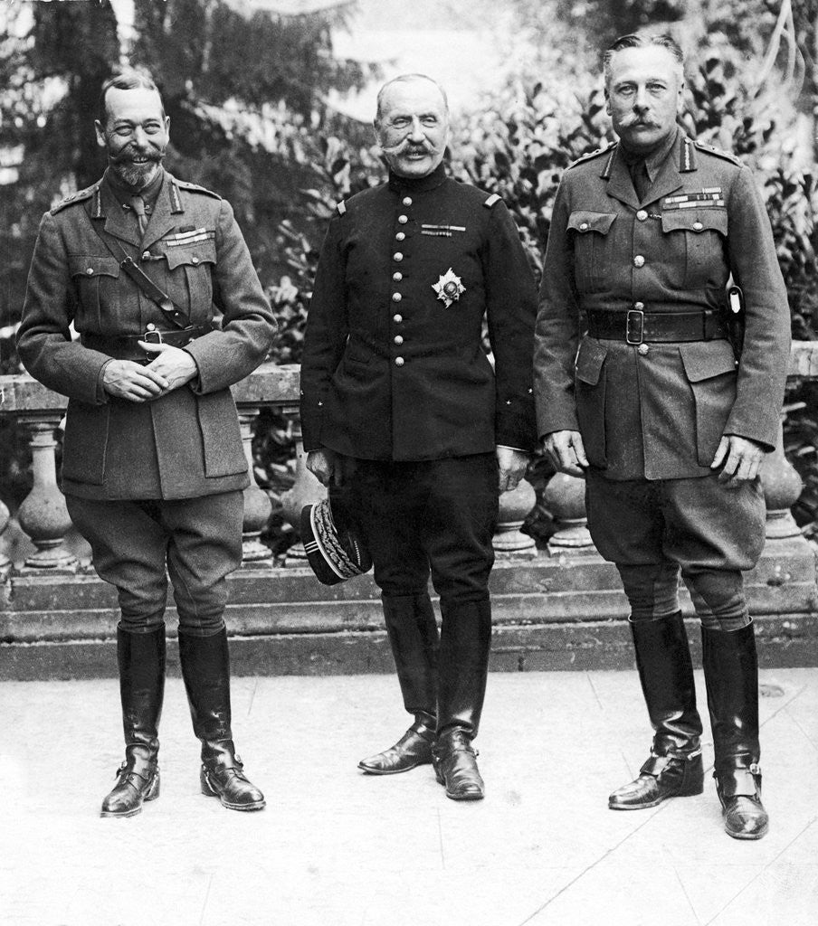 Detail of HM King George V, General Ferdinand Foch and Sir Douglas Haig by Ernest Brooks