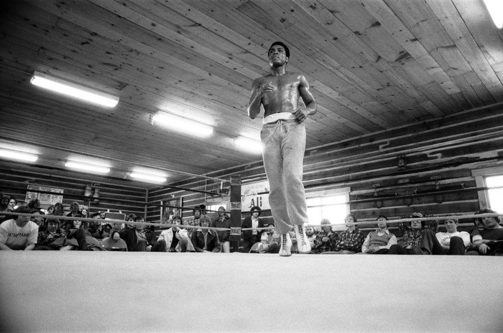 Detail of Muhammad Ali training at his camp in Deer Lake Pennsylvania by Monte Fresco