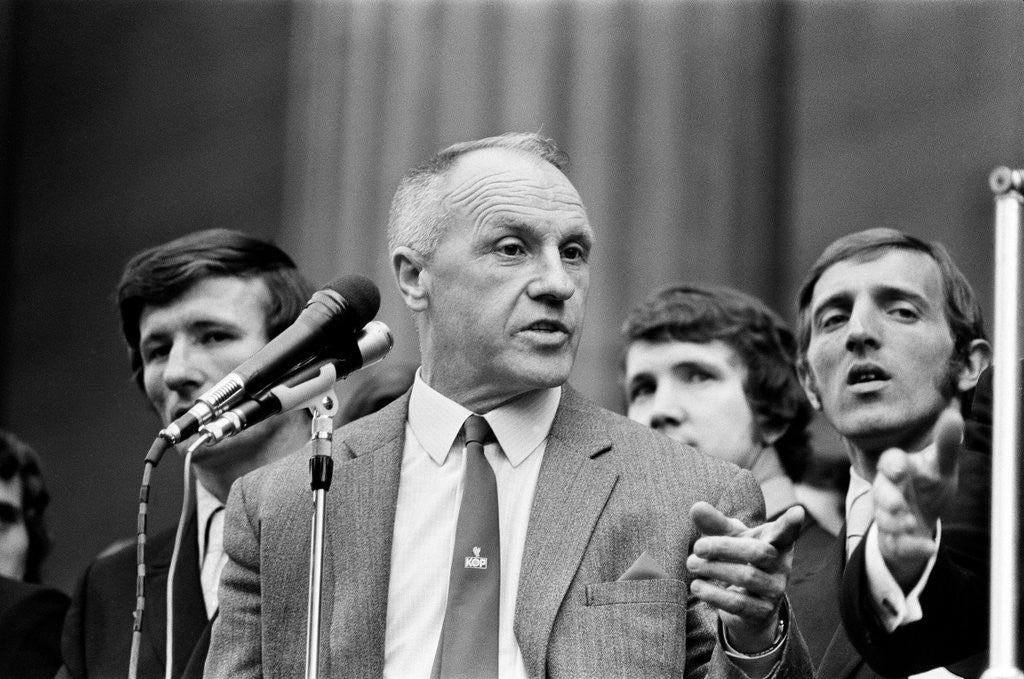 Detail of Bill Shankly Liverpool manager on Liverpool team homecoming 1971 by Daily Mirror