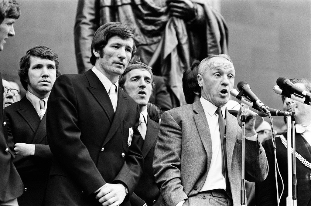 Detail of Bill Shankly Liverpool manager on Liverpool team homecoming 1971 by Staff