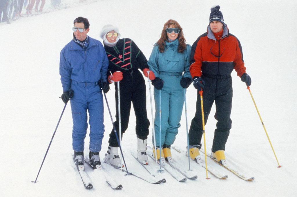 Detail of Prince Charles, Princess Diana, The Duchess of York Sarah Ferguson and The Duke of York Prince Andrew on skiing Holiday in Klosters. by Kent Gavin