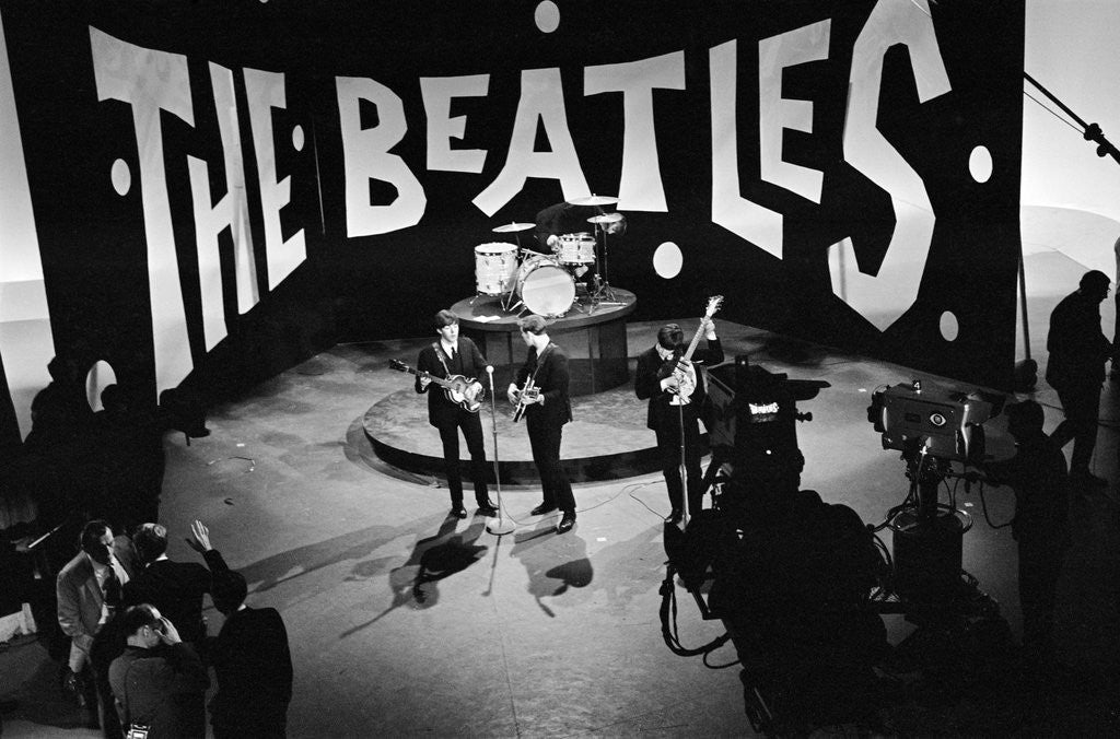 Detail of The Beatles on Ed Sullivan television programme by Staff