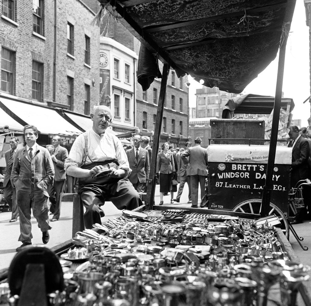 Detail of Leather Lane market 1954 by Staff