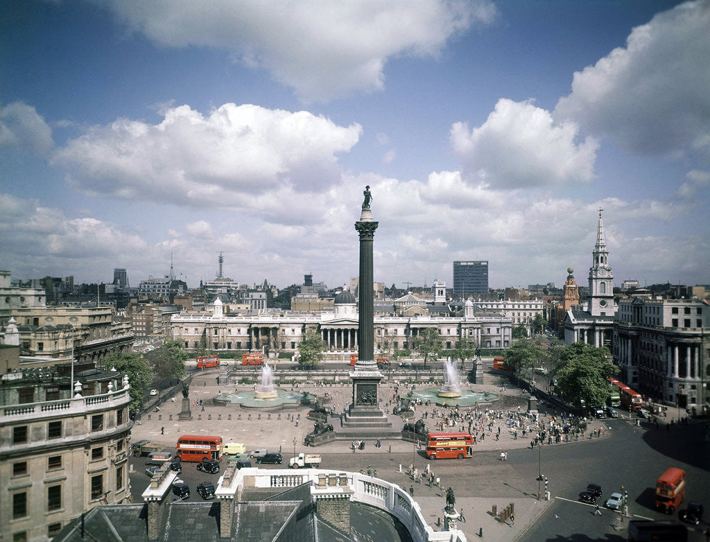 Detail of View of Trafalgar Square,  London 1963. by Staff