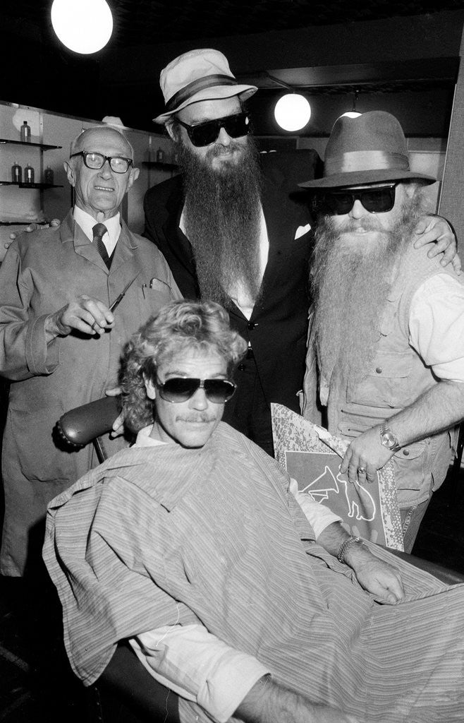 Detail of ZZ Top at barbers, Birmingham, 1985 by Burkes