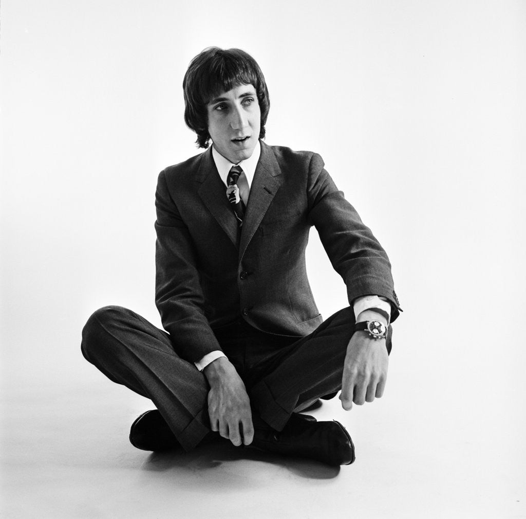 Detail of Pete Townshend of the Who wearing smart clothes 1967 by Beverly Goodway