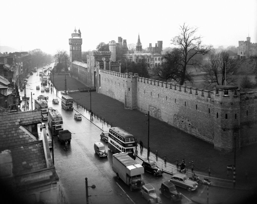 Detail of Cardiff Castle, 15th February 1955 by Stephens