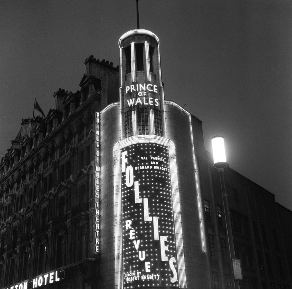 Detail of Exterior view of the Prince of Wales Theatre 1958 by Staff