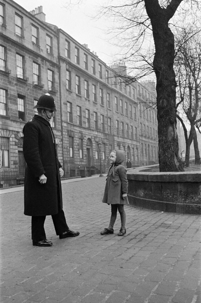 Detail of A policeman talking to a small girl, Edinburgh, 1945 by George Greenwell