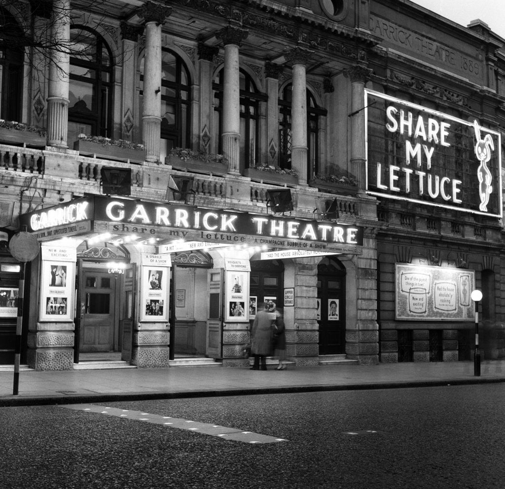 Detail of Exterior view of the Garrick Theatre 1958 by Staff