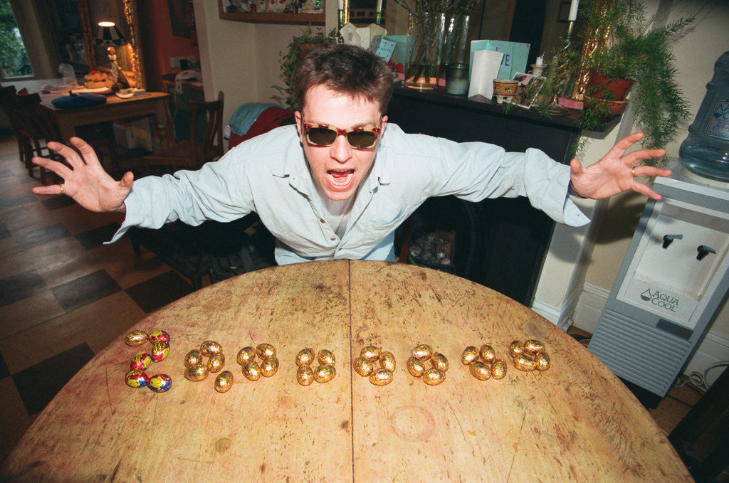 Detail of Suggs at Lottery preview 1996 by Ian Vogler