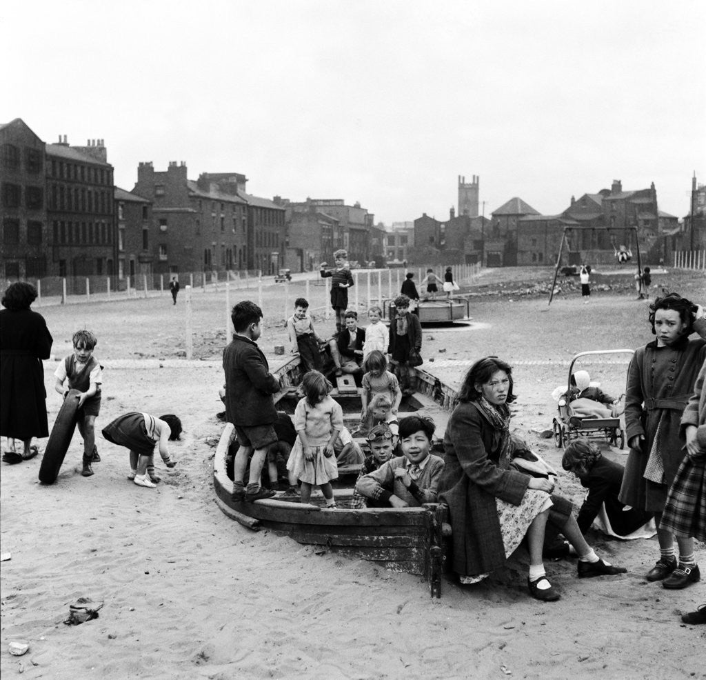 Detail of Liverpool children playing in a WW2 bomb site, 1954 by Turner