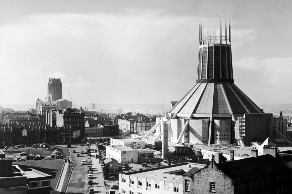 Detail of Liverpool's two cathedrals 1967 by Staff