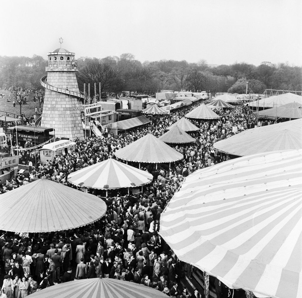 Detail of Easter Fair, Hampstead Heath, 1952 by Henry How