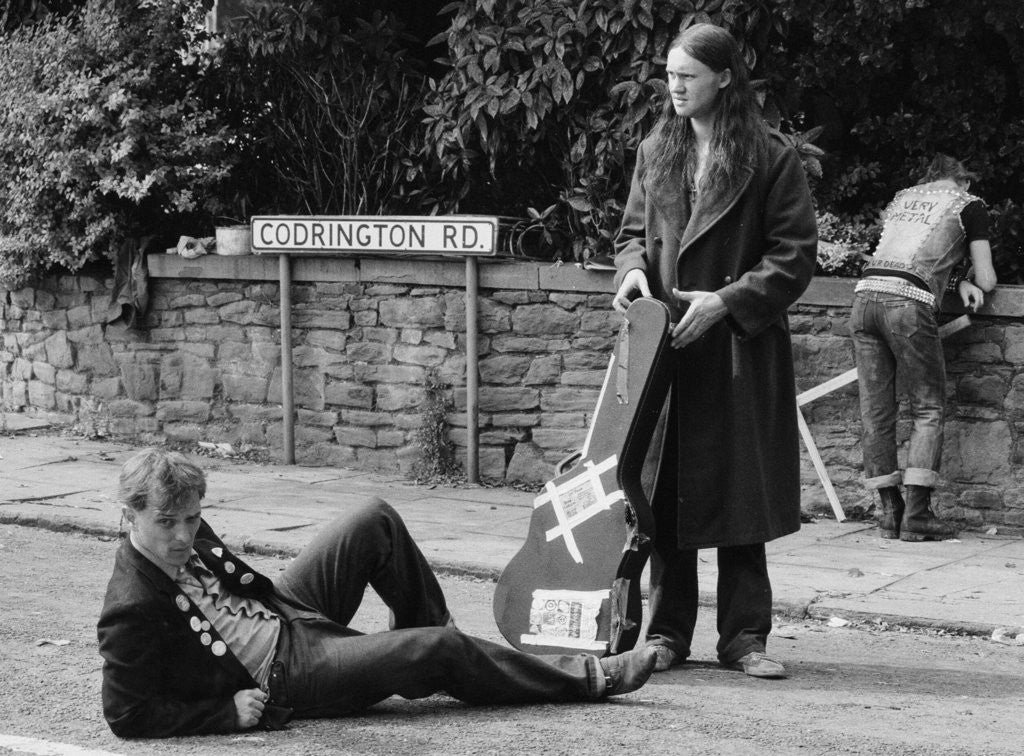 Detail of The cast of the Young Ones seen here filming on location at  Codrington Road, Bristol. by Albert Foster