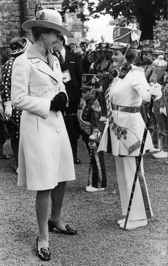 Detail of The Princess Royal meets Drum Majorette Sylvia Moran, of the Washington Grey's Jazz Band. by Staff