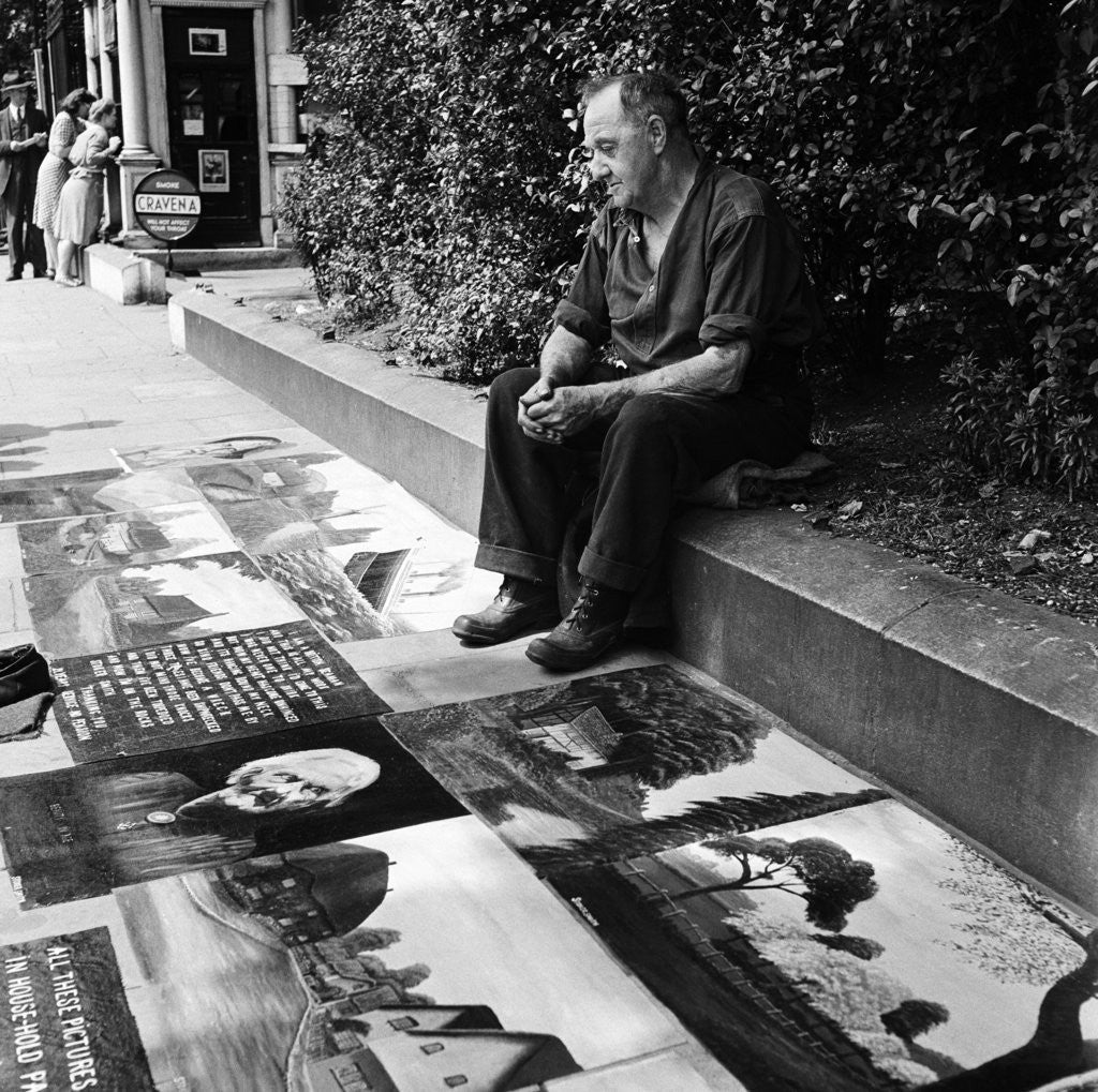 Detail of Pavement artist, 1946 by Staff