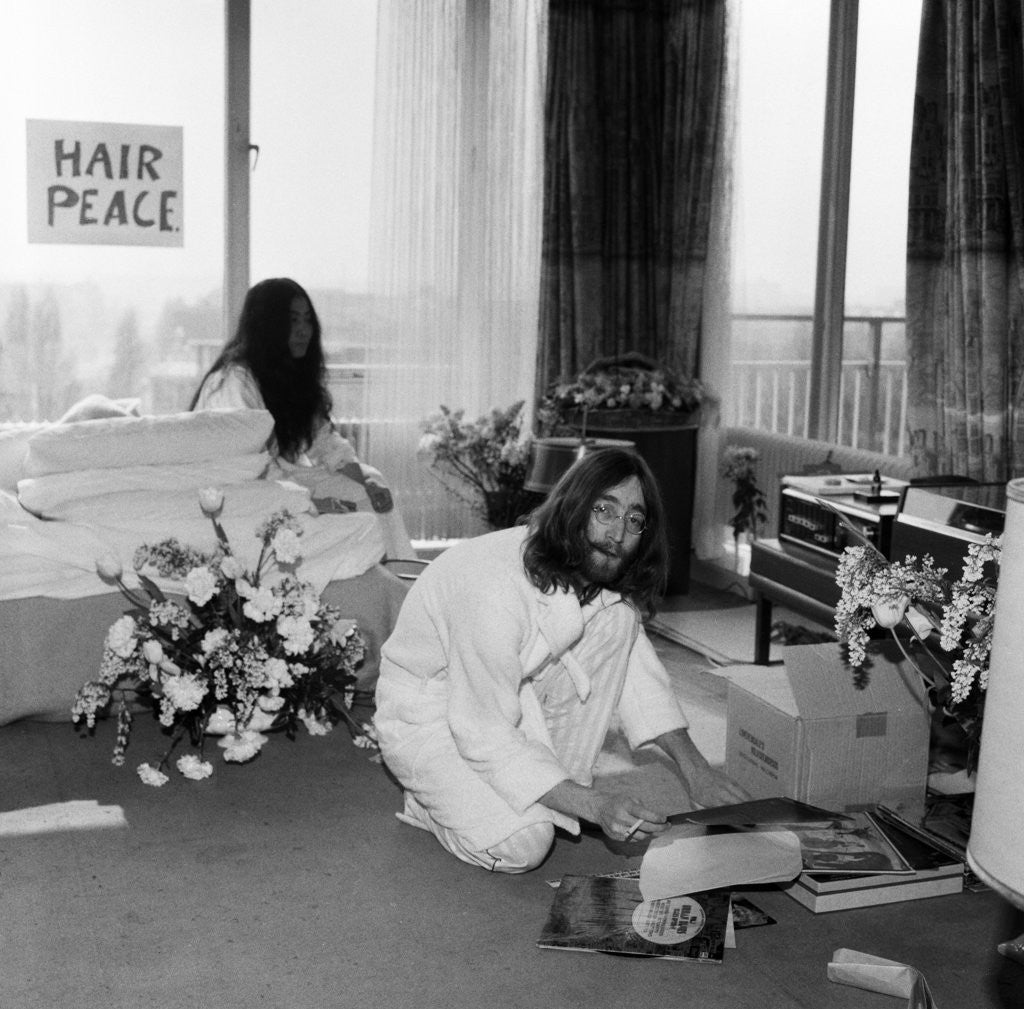 Detail of John Lennon and Yoko Ono, 1969 by Charles Ley