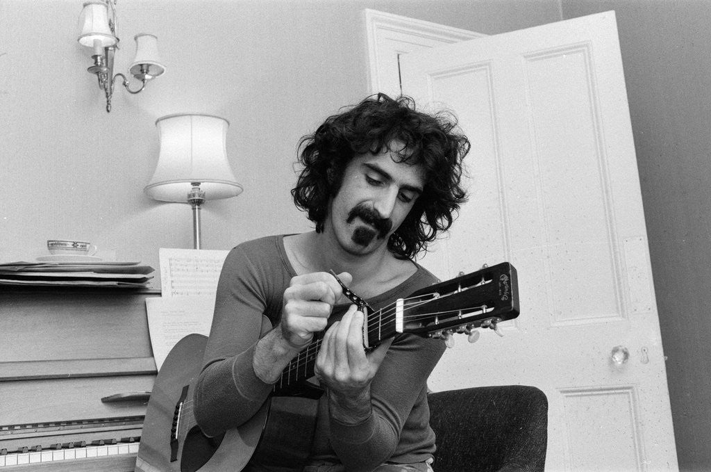 Detail of Frank Zappa, pictured in London in 1971 by Bill Rowntree