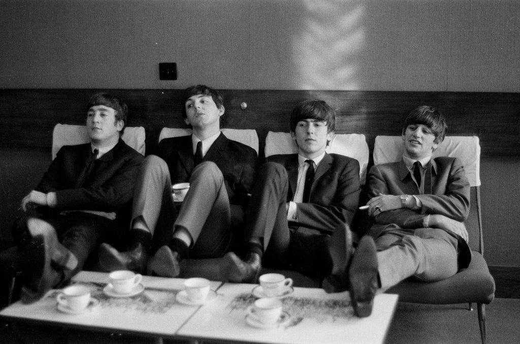 Detail of The Beatles at The Prince of Wales Theatre in London, take a break during rehearsals for the next days The Royal Variety Command Performance. November 1963. by Illingworth