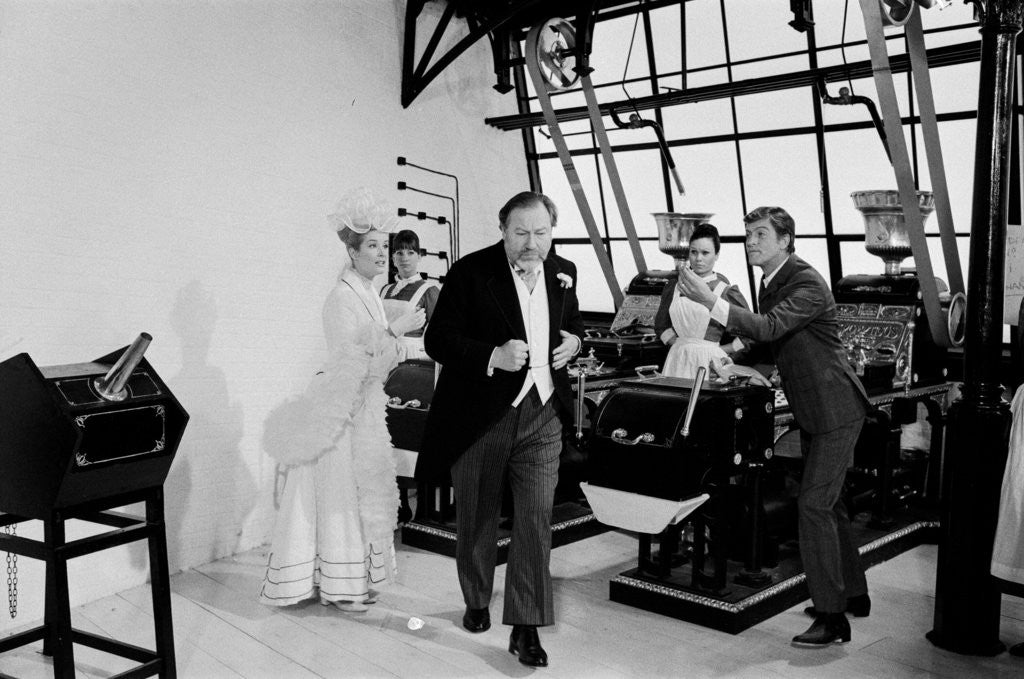 Detail of Dick Van Dyke, Sally Ann Howes and Peter Ustinov filming a scene for Chitty Chitty Bang Bang by Bela Zola