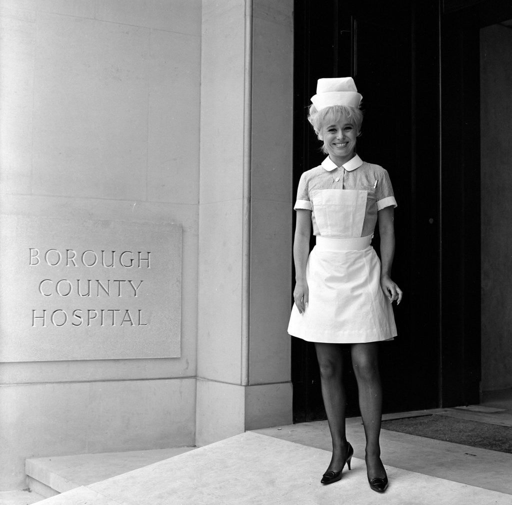 Detail of Barbara Windsor on the film set of Carry On Doctor. by Staff
