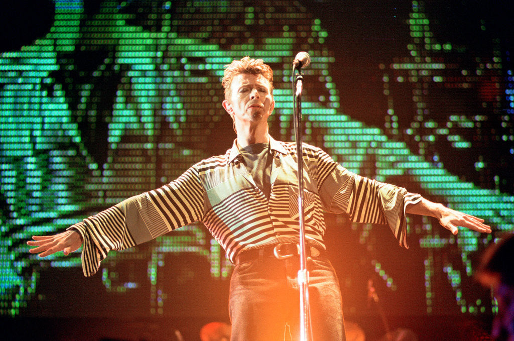 Detail of David Bowie performing at The Big Twix Mix concert at The Birmingham NEC. by Staff