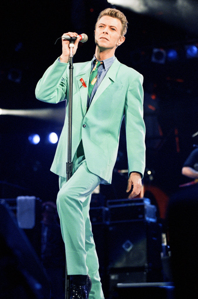 Detail of David Bowie performing at The Freddie Mercury Tribute Concert for Aids Awareness, at Wembley Stadium. April 1992 by Staff