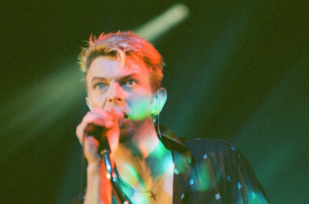 Detail of David Bowie performing on stage at The Barrowlands in Glasgow. Scotland. by John Gunion