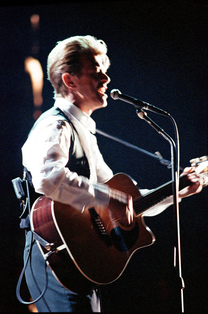 Detail of David Bowie performing at The Birmingham NEC, as part of his 1990 Sound and Vision World Tour. by Dick Williams