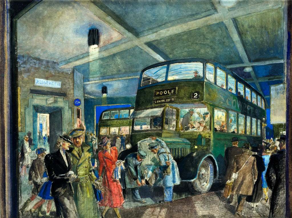 Detail of The Darkened Bus Station by Eustace Nash