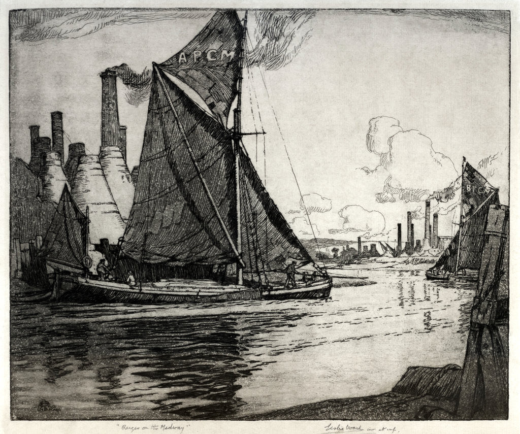 Detail of Barges on the Medway by Leslie Moffat Ward