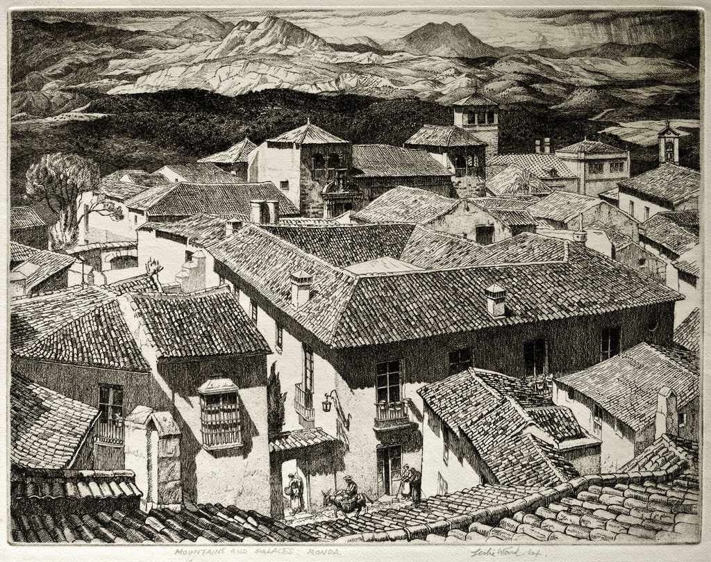 Detail of Mountains and Palaces, Ronda, Spain by Leslie Moffat Ward