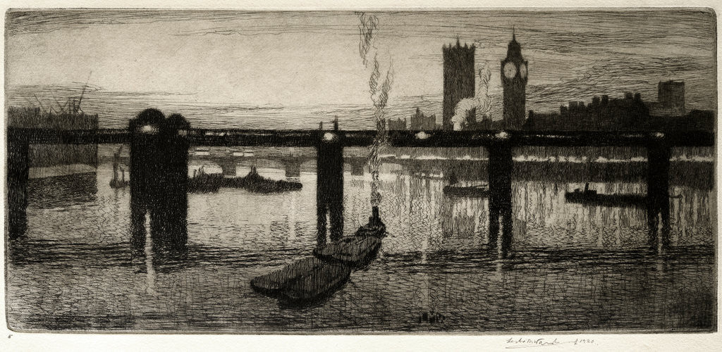Detail of Westminster from the Tate Gallery by Leslie Moffat Ward