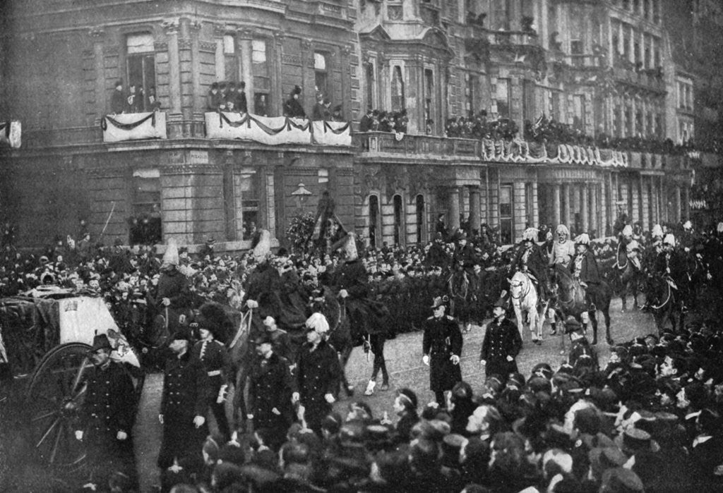 Detail of Queen Victoria's funeral procession passing through London by Anonymous