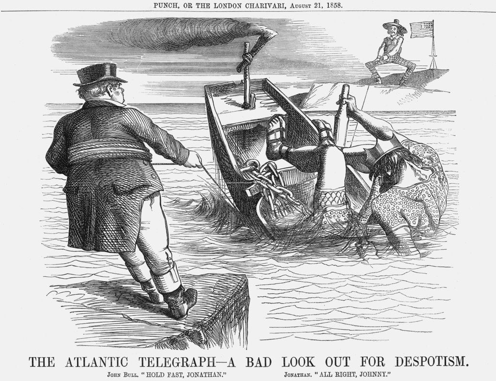 Detail of The Atlantic Telegraph - A bad look out for Despotism by Anonymous