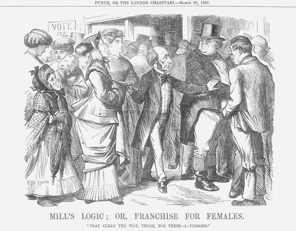 Detail of Mills' Logic; or, Franchise for Females by John Tenniel