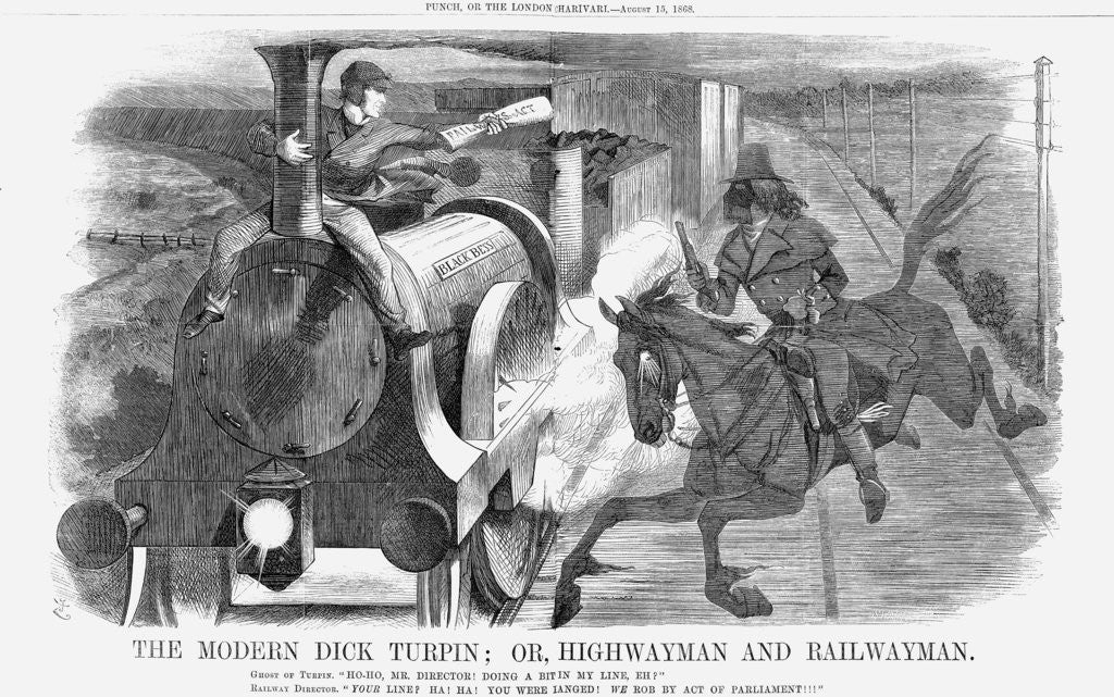 Detail of The Modern Dick Turpin; Or, Highwayman and Railwayman by John Tenniel