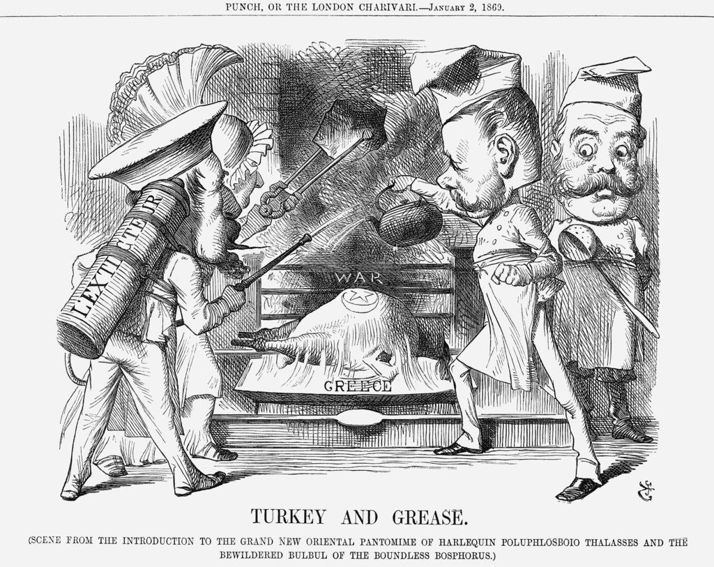 Detail of Turkey and Grease by John Tenniel